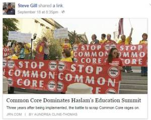 Candy Emerson, upper right holding banner, at the Sept. 18 anti-Common Core rally in downtown Nashville.