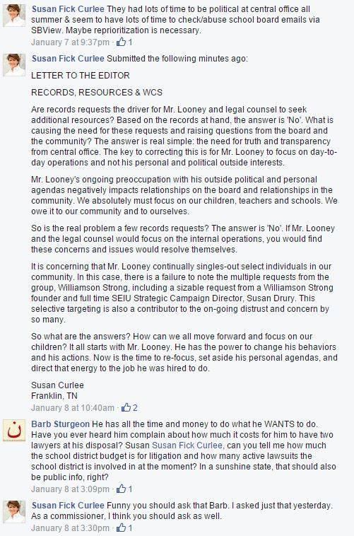 An interesting exchange between Curlee and Sturegon on Julie West's Facebook page.